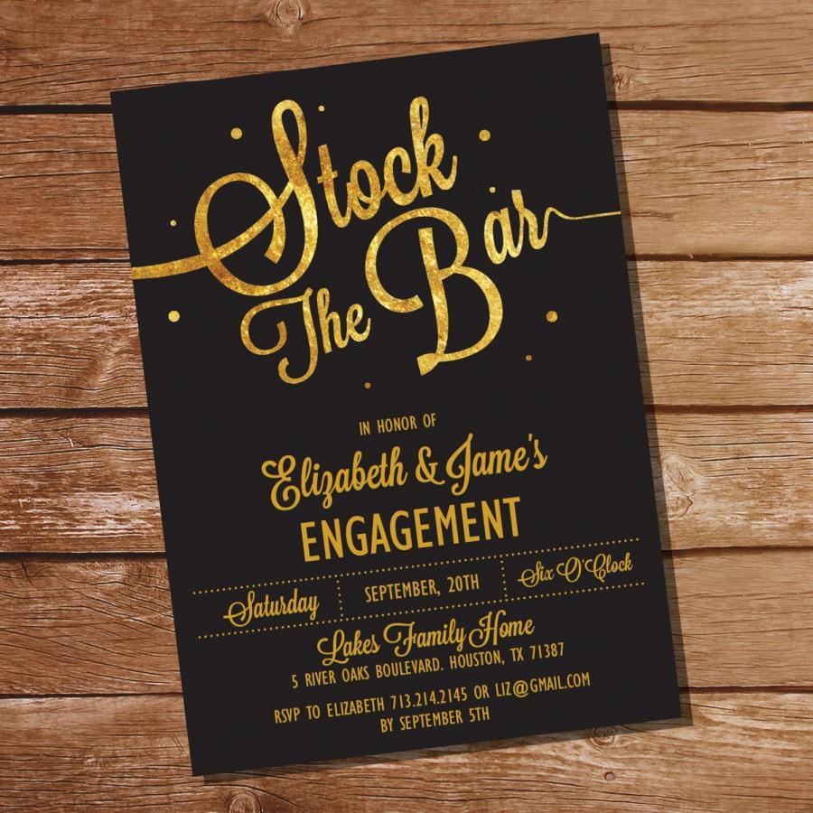 Gold Glitter Stock The Bar Engagement Party Invitation Stock The