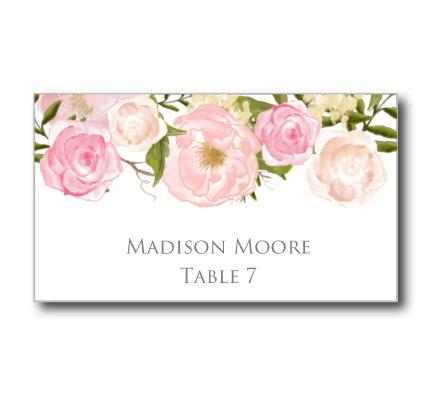 Printable Wedding Place Cards Romantic Floral Wedding Place Cards - Wedding place card templates free download