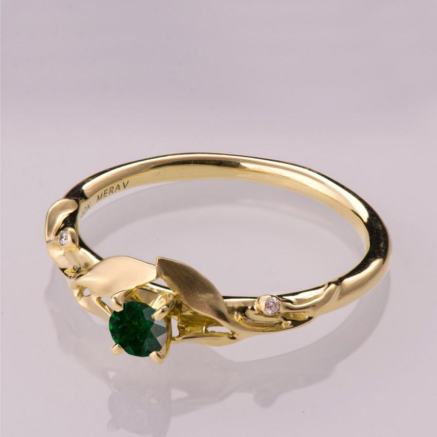 Leaves Emerald Ring 14K Gold And Emerald Ring May Birthstone Three Stone