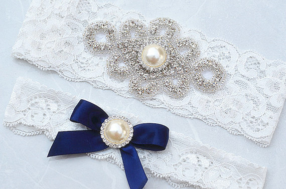 Mariage - SALE Crystal pearl Wedding Garter Set, Stretch Lace Garter, Rhinestone Crystal Bridal Garters
