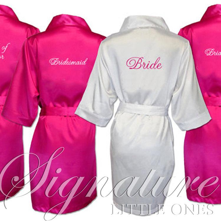 5747542eb3 Set of 5 SATIN Bridesmaid Robes Silk Bridal Party Robe Gift Shower ~ Monogrammed  Personalized~ White ~ Pink ~ Black ~ Hot Pink ~ Lavender