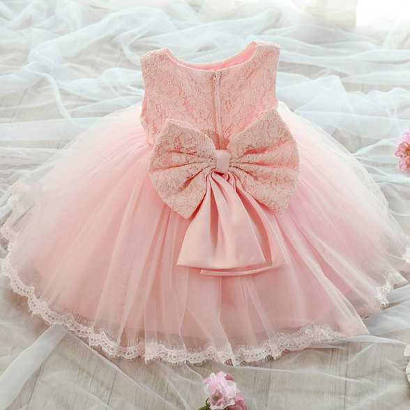 Hochzeit - Flower Girl Dress, Girl's Pink Lace Dress, 2nd Birthday Dress, Baby Pink Lace Dress, Birthday Dress