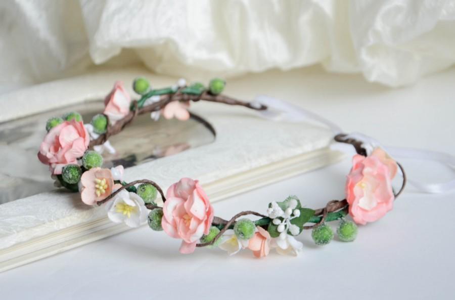 Mariage - Bridal floral crown, Bridal flower crown,Pink bridal headpiece, Wedding headpiece,Bridal headpiece, Pink floral headpiece