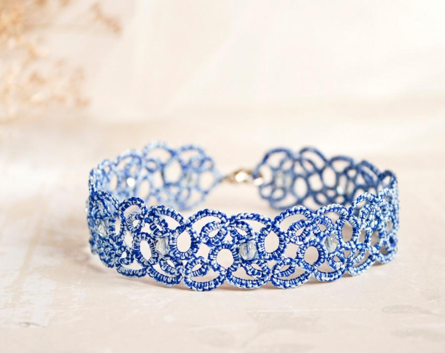 Mariage - Something blue anklet, blue lace anklet, something blue wedding, something blue for bride, blue ankle bracelet, tatting accessories.