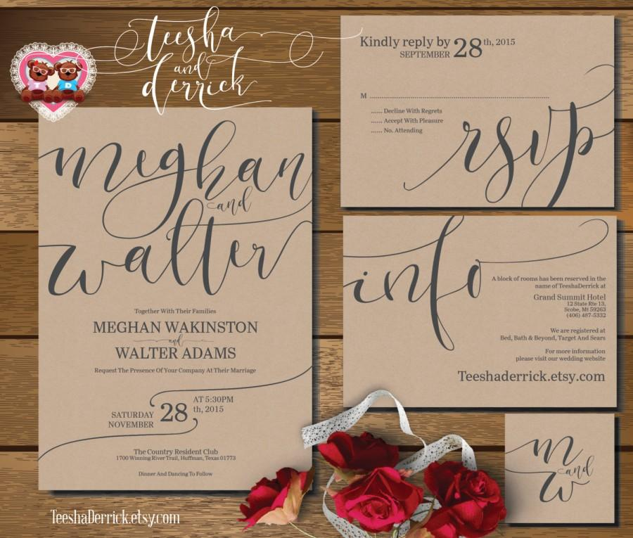 Printable Wedding Invitation Suite (w0352), Consists Of Invitation ...