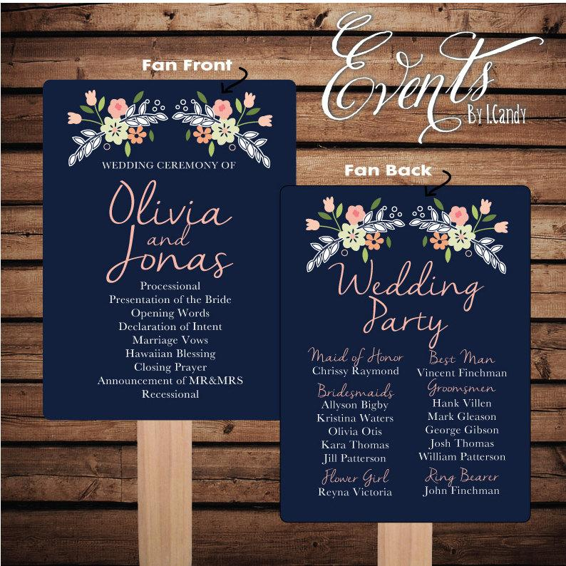 printed sample for 2 dollars or sets of 50 custom printed wedding program fans double garland mixed floral fan