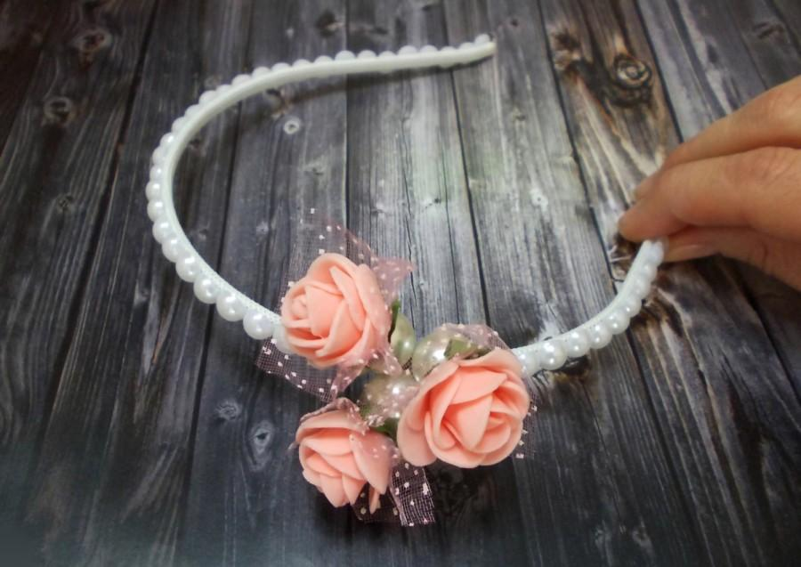 زفاف - Bridal Floral Crown Headband, Peach flower, Floral Fascinator, Bridal Pearl Crown Headband Embroidered Crown