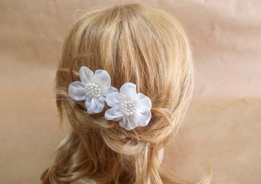 Bridal Ivory Flower Hair Accessories : Bridal organza flower bobby floral hair set of
