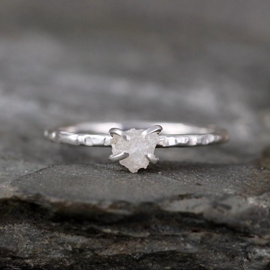 Wedding - Raw Diamond Ring - Rough Uncut Diamond  - Hammered Textue Sterling Silver- Engagement Ring - Raw Gemstone - April Birthstone - Stacking Ring