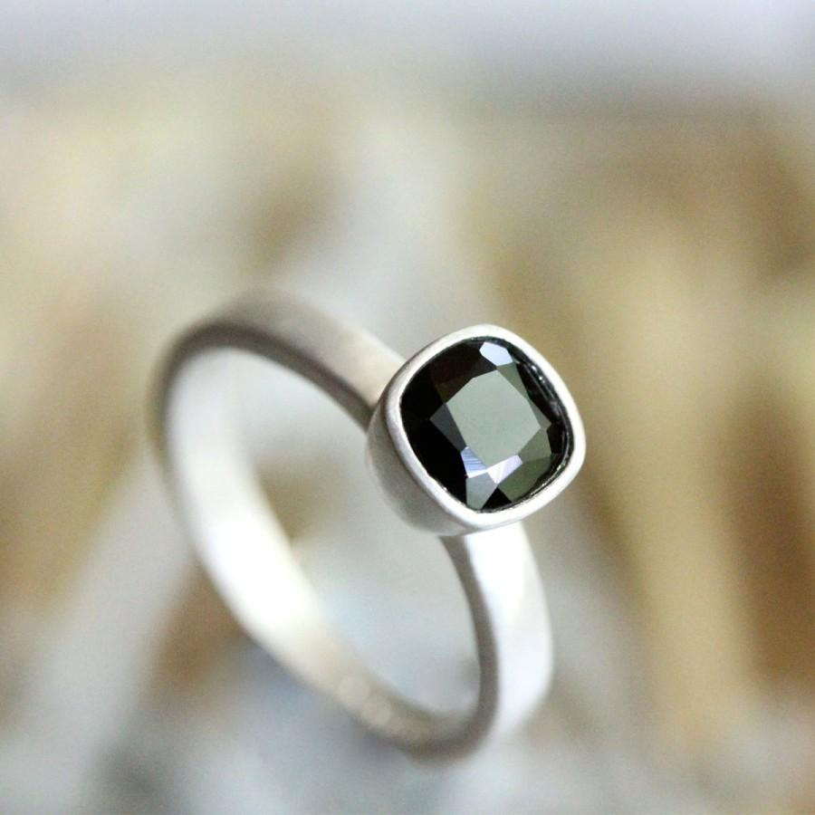 black spinel sterling silver ring gemstone ring cushion shape ring no nickel eco friendly engagement ring stacking ring made to order - Eco Friendly Wedding Rings