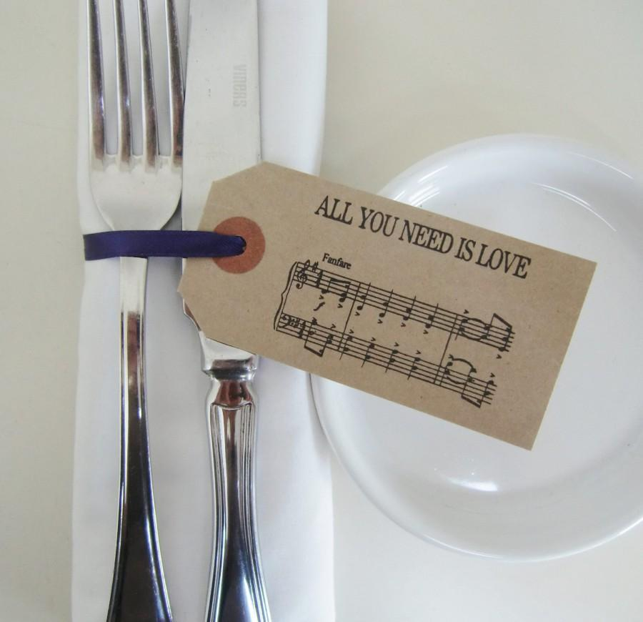 Mariage - Wedding Napkin Holders-Rustic Wedding Table Decor-Vintage Style Tags with Ribbon-BEATLES MUSIC-Unique Wedding Favors-Wedding-Various Sets