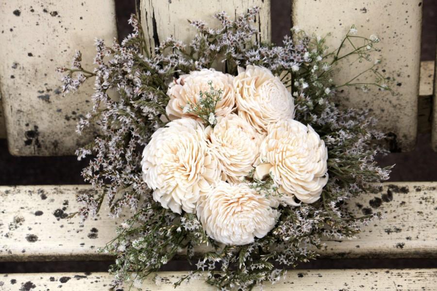 زفاف - Sola bouquet with ivory flowers and dried flowers bouquet