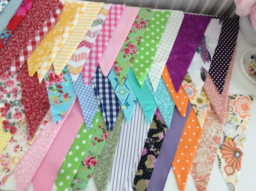 Mariage - Extra Long Bunting / fabric garland / banner - 30ft Long, weddings, parties, decoration