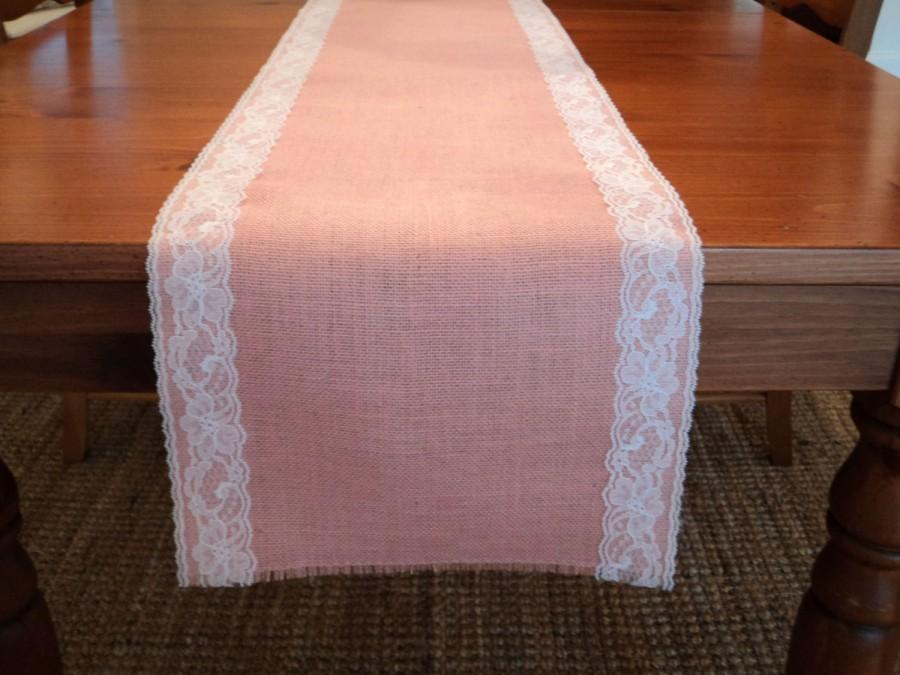 Mariage - Pink Burlap and Lace Table Runner Blush Pink Table Runners Baby Girl Shower Decorations Blush Pink Wedding Burlap and Lace Wedding Decor
