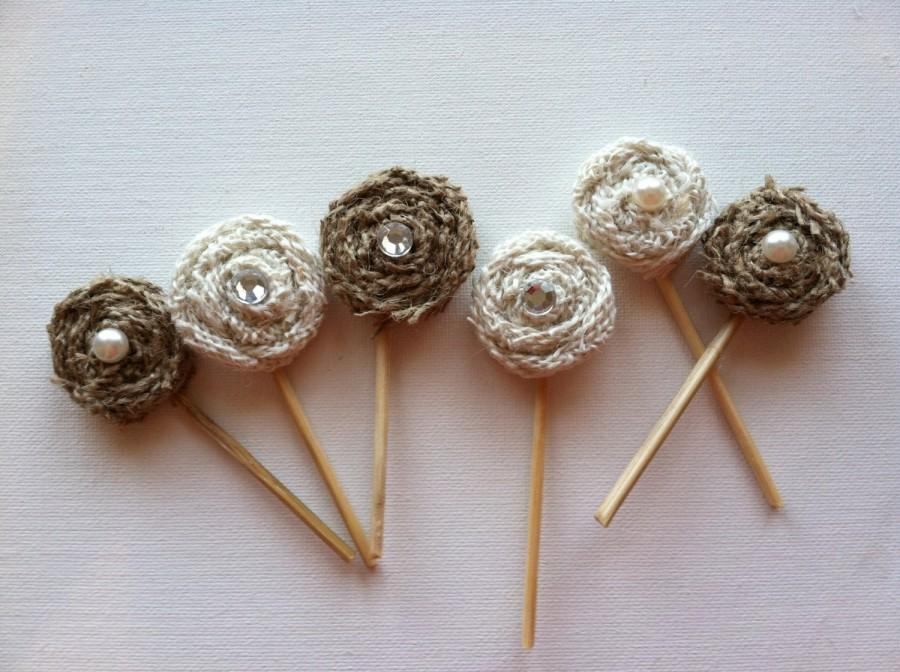 Burlap Flower Cake Or Cupcake Toppers With Gems For A Rustic