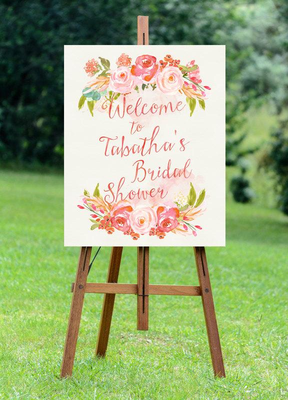 Mariage - PRINTABLE Large Bridal Shower Welcome Sign // Bridal Shower Sign // Feminine Bridal Shower // Floral Bridal Shower // Blush Bridal Shower
