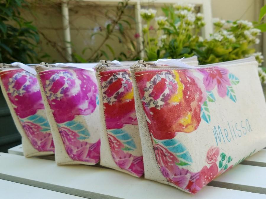 Hochzeit - Set of 6 Get one Free - Pink Floral bridesmaid clutch wedding gift beige cotton clutch Bridesmaid wedding Garden Party Personalized Gift