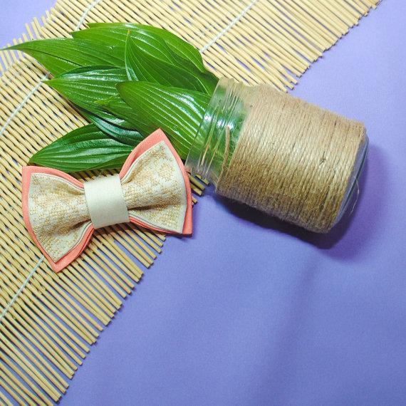 Свадьба - Pebech Groom's wedding bow tie Peach beige bow tie Mariage Fiancee Groomsmen ties Necktie in peach Gift ideas men Bowtie for boy ringbearer
