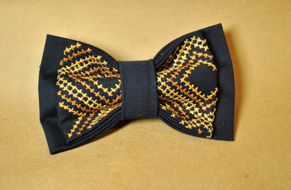 Wedding - Father's day gift Embroidered men's bow tie Navy blue Brown postel pre tied neck tie Wedding's bow tie Groomsman bow tie Cross-stitch Boho