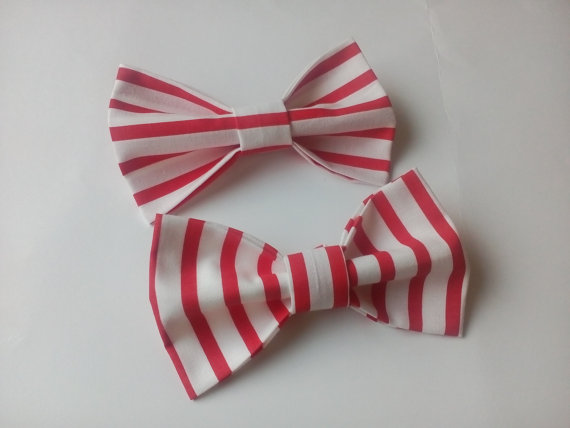 Wedding - Men's bow ties Two white bow ties with red vertical and gorizontal stripes Gifts for husband Nautical themed party for kids Boys bow ties