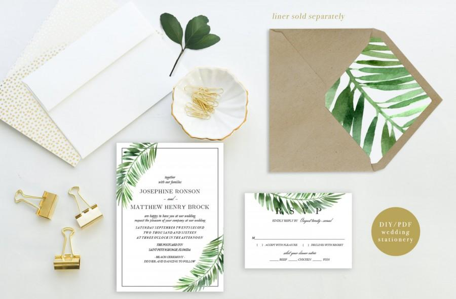 Printable Wedding Invitation Set Palm Leaves Destination Invite Beach Template Coastal Suite PDF DIY