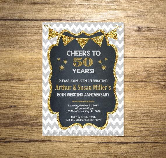 Wedding - Golden Wedding Anniversary Invitation, Chalkboard & Gold (Digital) Glitter 50th Anniversary Invitation, Chevron Anniversary Invite
