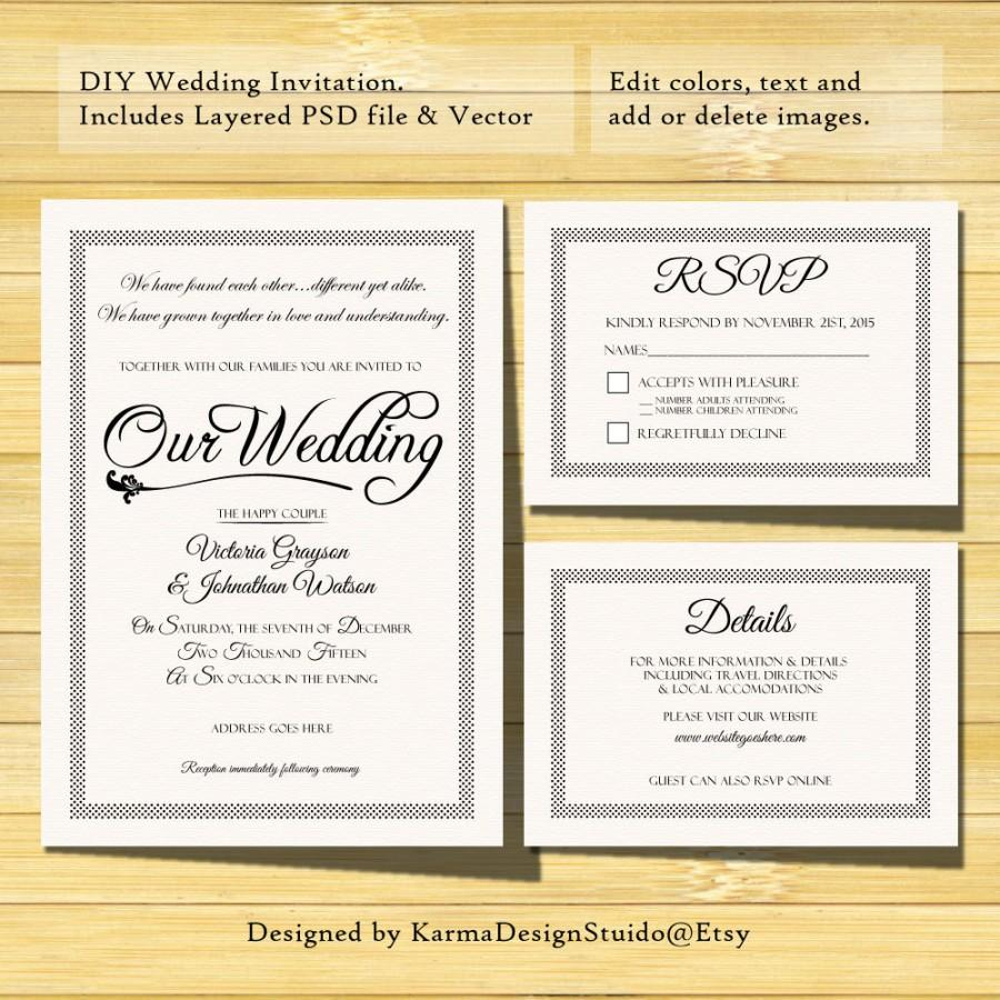 Wedding Invitation Template   Instant Download   Printable Invitation   PSD  Template   RSVP Card   Details Card  Easy DIY  Free Rsvp Card Template