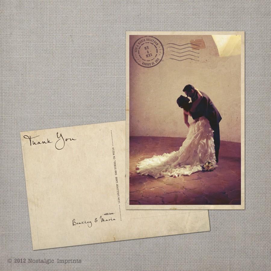 """Свадьба - Wedding Thank You Cards, Thank You Note Cards, Vintage cards, thank you card, Thank You Card Vintage Postcard - the """"Maria"""""""