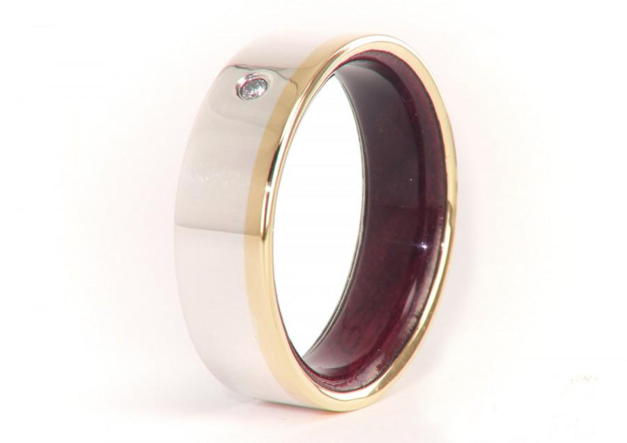 Olive Wood Ring 18k Gold And Silver Diamond Mens Wedding Band