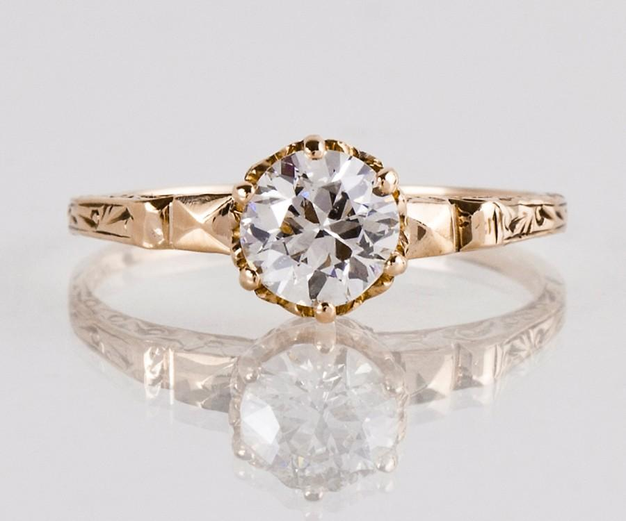 Mariage - Antique Engagement Ring - Antique Victorian Rose Gold Solitaire Diamond Engagement Ring