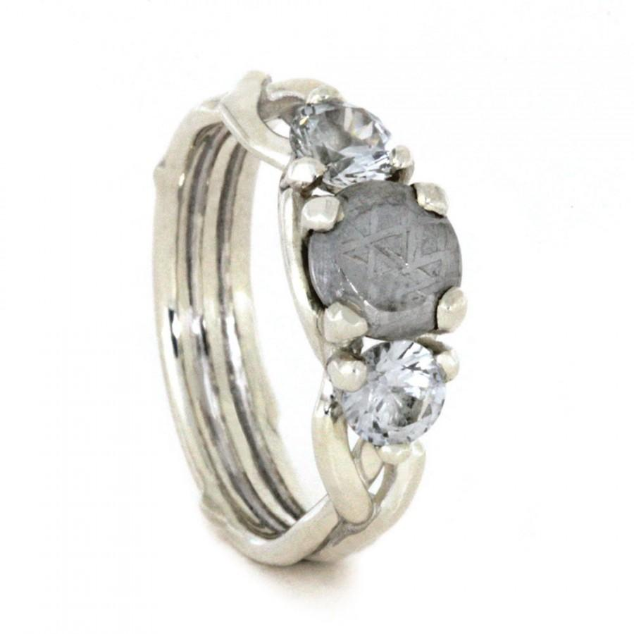 Mariage - Meteorite Engagement Ring in Sterling Silver, White Sapphire Ring, Customized Triple Band Engagement Ring