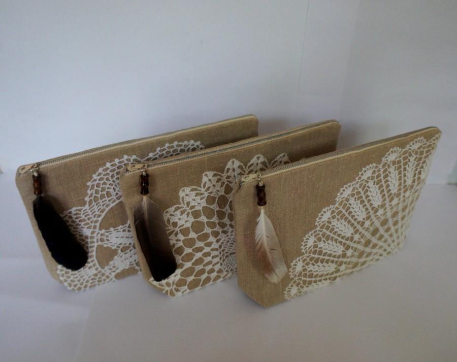 Mariage - Bridesmaid bag - sand beige linen and vintage cotton doily zipper clutch, handmade pouch, vintage lace clutch, linen bag, rustic wedding bag