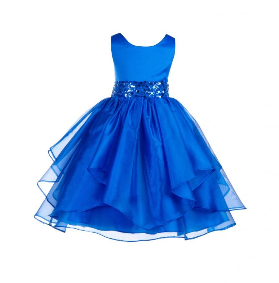 Wedding asymmetric ruffles satin organza royal blue flower girl wedding asymmetric ruffles satin organza royal blue flower girl dress sequin sash bridesmaid pageant junior handmade sizes 4 6 8 10 12 012 izmirmasajfo