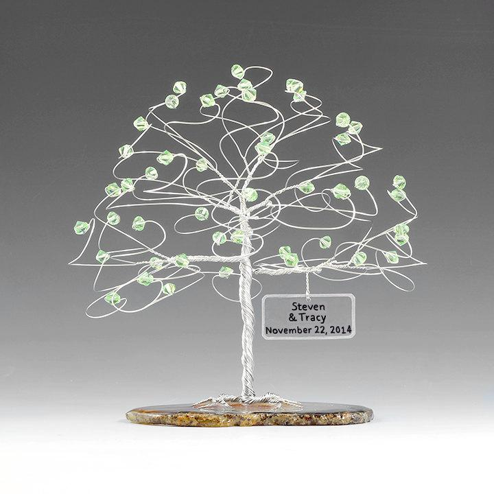 "Hochzeit - Personalized Tree Wedding Cake Topper Sculpture Size 6"" x 6"" in Swarovski Crystal Elements Custom Color Beads and Silver Copper or Gold Wire"