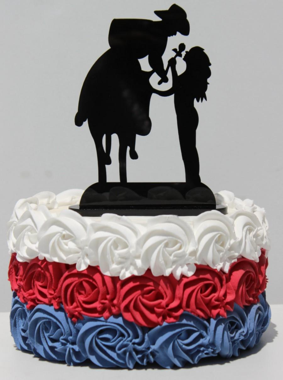Düğün - Country Western Horse Cowboy rose Wedding Cake topper Groom silhouette