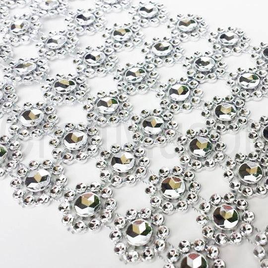 "Hochzeit - 4.75""x10 Yards Diamond FLOWER Wrap Sparkle Rhinestone Crystal Ribbon Roll"