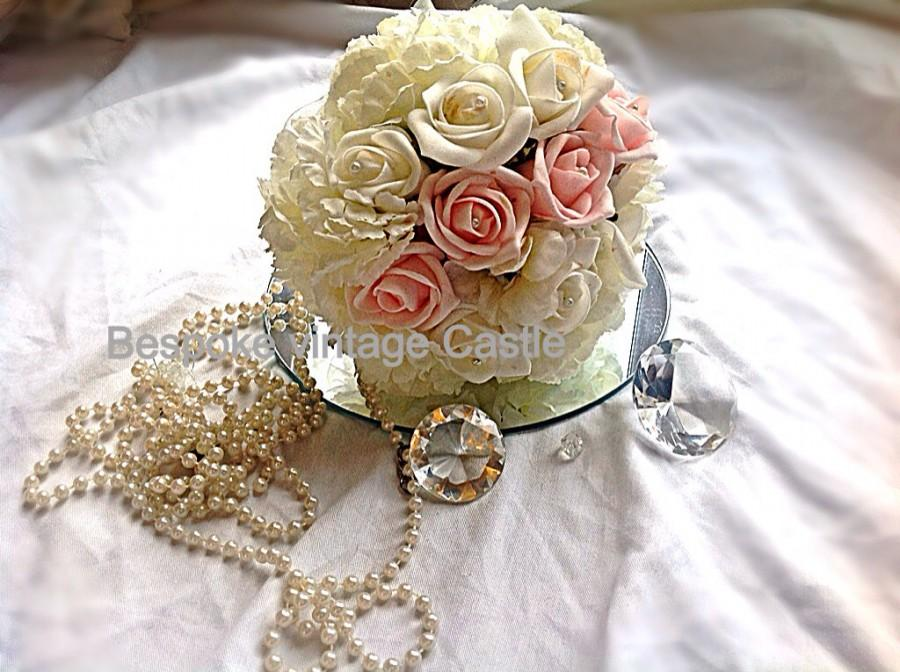 Свадьба - Bridesmaid bouquet,budget,pink,ivory, bouqet toss, foam flowers, pearls,bridesmaid, flower girl, bridal bouqet, shabby chic, traditional,