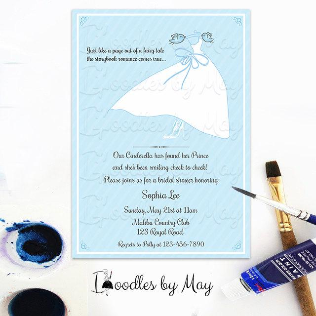 Wedding - Light blue Chic Cinderella Themed Bridal Shower Invitation- Design Fee