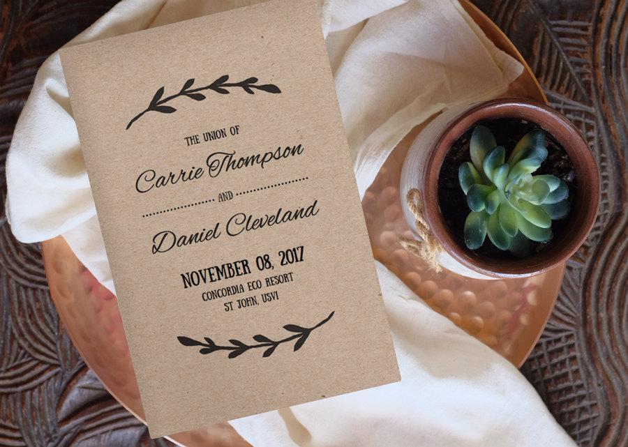 Mariage - Printable Wedding Program Template - VINE - Change colors!