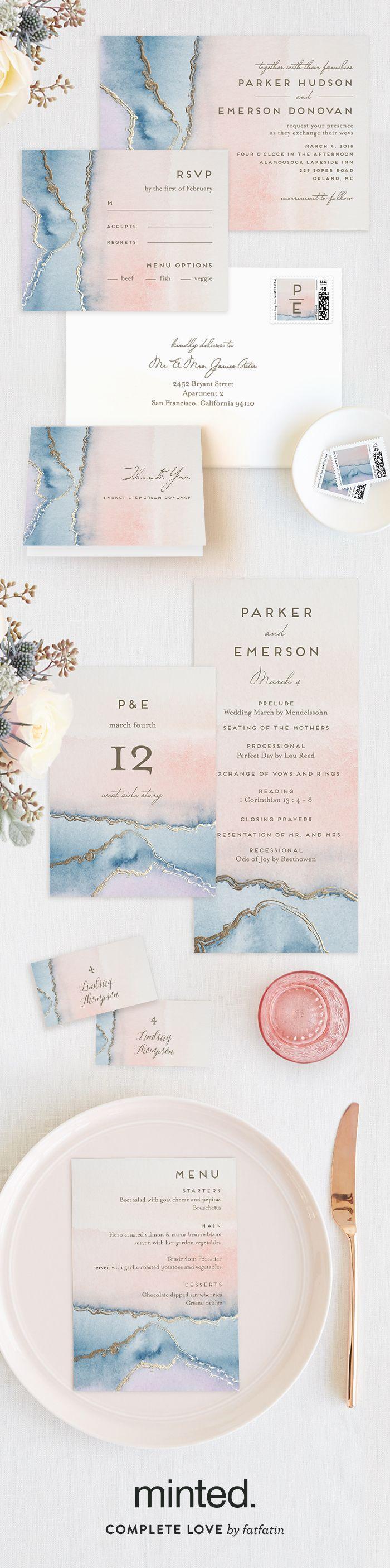 زفاف - Simple Agate Foil-Pressed Wedding Invitations