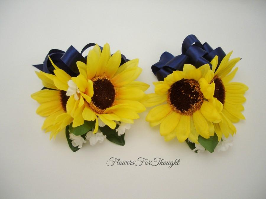 2 double sunflower corsages with navy ribbon yellow and blue 2 double sunflower corsages with navy ribbon yellow and blue wedding flowers mother of bride and groom gift fft original made to order mightylinksfo