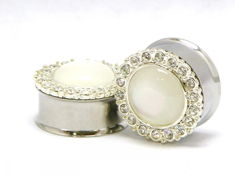 "Mariage - Diamond Wedding Plugs 3/4"" 7/8"" 1"" 19mm 22mm 25mm"