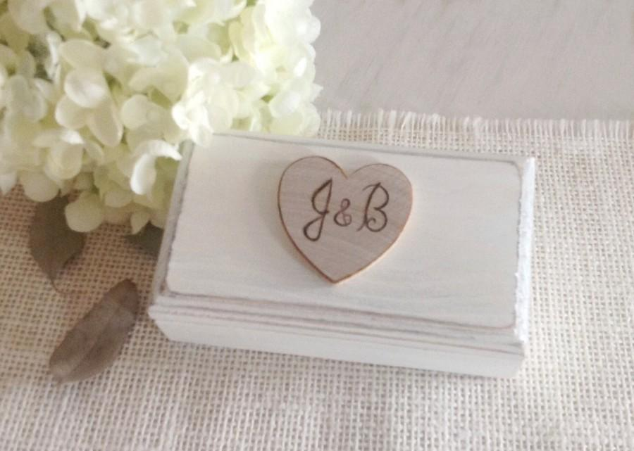 Ivory Ring Bearer Box Double Wedding Ring Box Rustic Ring Box With