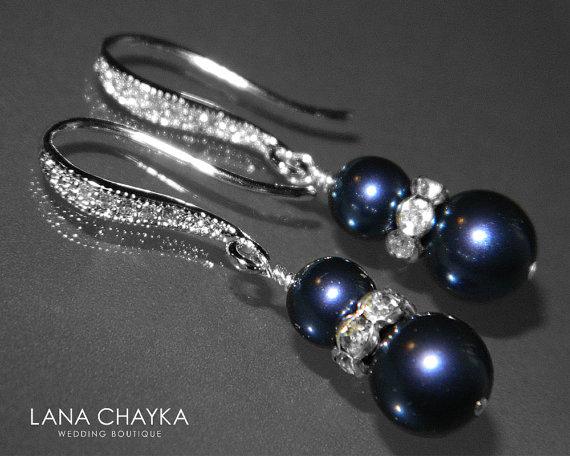 Wedding - Navy Blue Pearl Silver Earrings Swarovski Night Blue Pearl Wedding Earrings Dark Blue Pearl Dangle Earrings Pearl Hypoallergenic Earrings