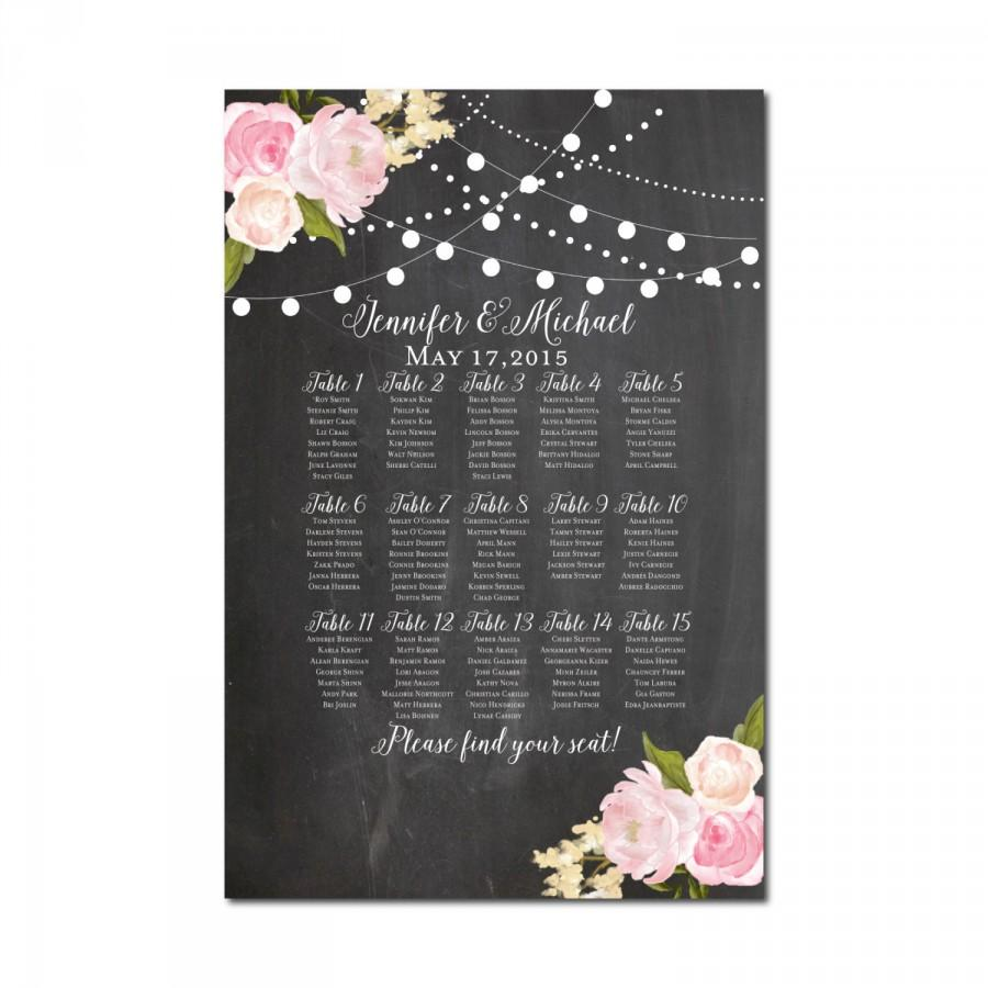 زفاف - Wedding Seating Chart - Chalkboard Wedding - Floral Wedding - Printable Seating Chart - Seating Plan - Table Chart - Printable Seating Sign