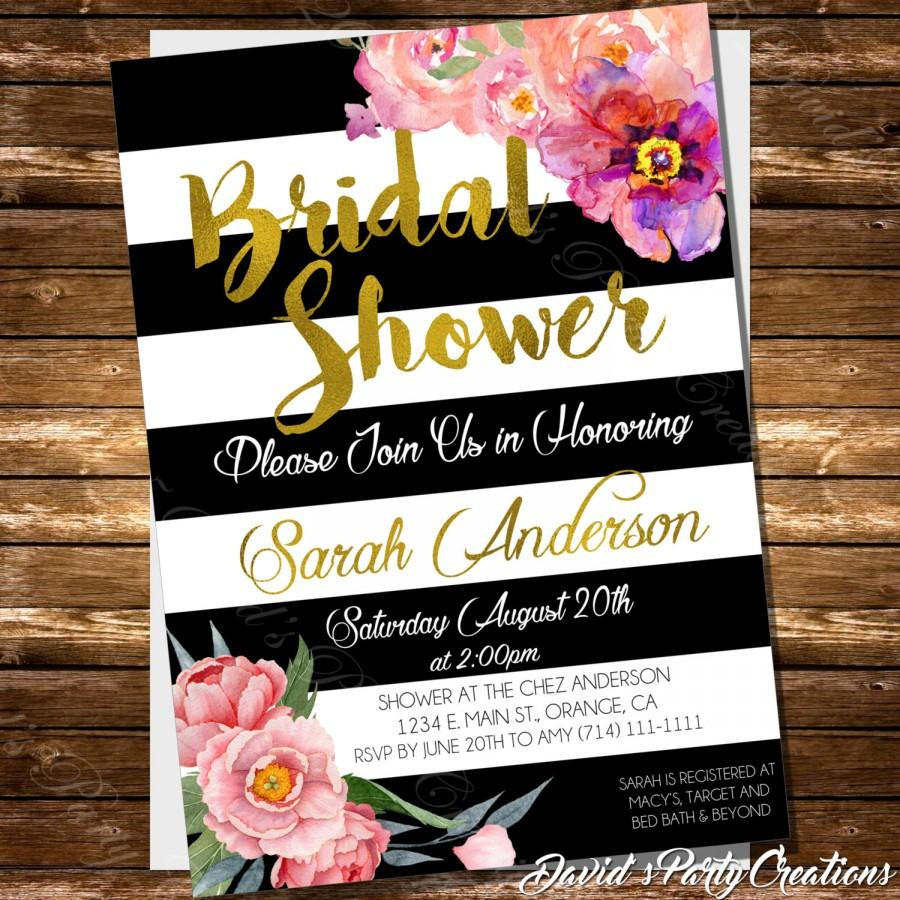 Hochzeit - Black and White Striped Bridal Shower Invitation Spade Inspired Gold Foil or Glitter Floral Invitation