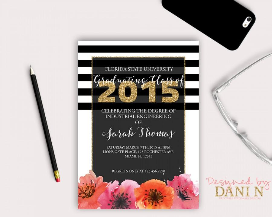 Graduation invitation floral party invite black and gold stripes graduation invitation floral party invite black and gold stripes floral grad invite graduation party class of 2016 high school grad filmwisefo Image collections