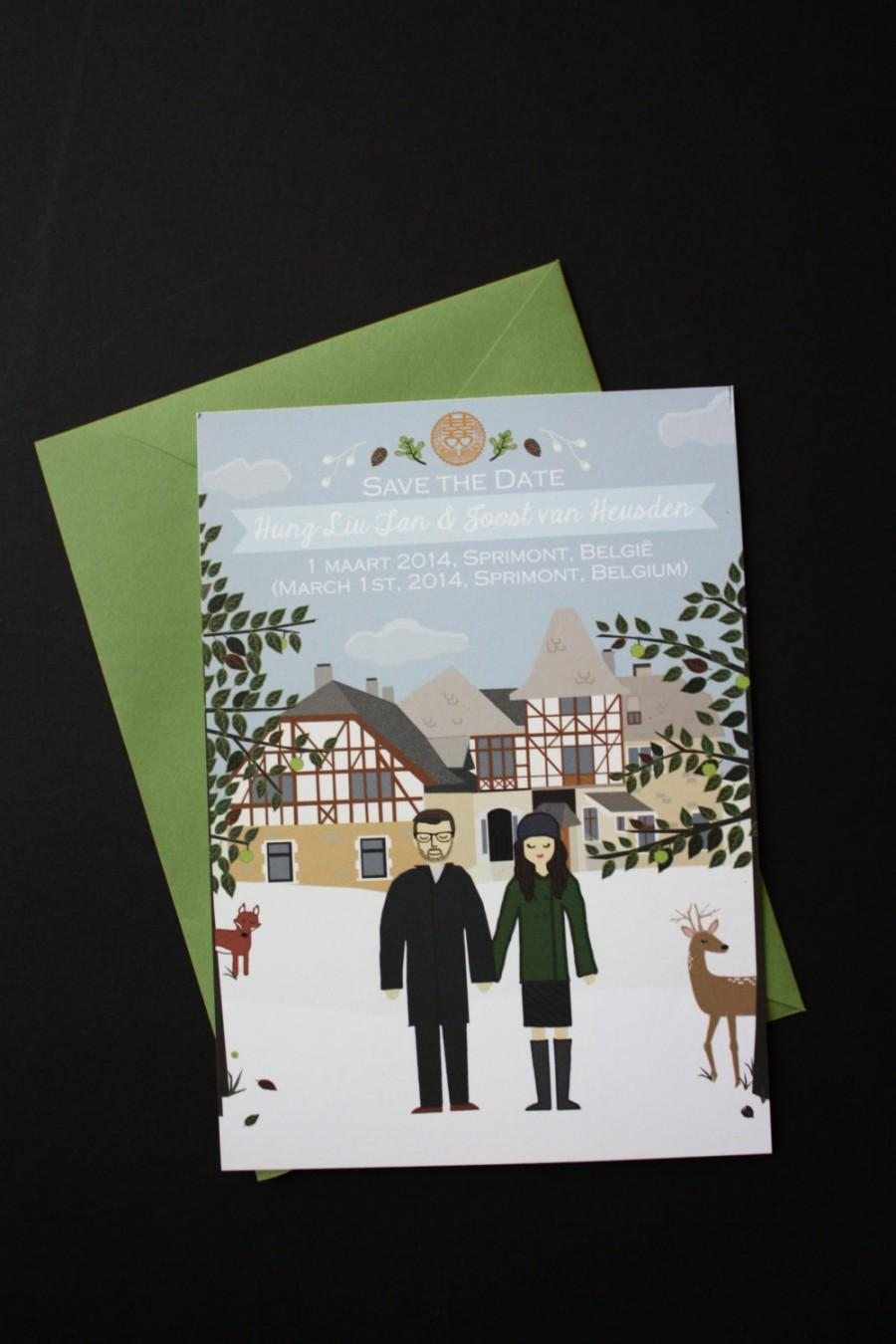 Hochzeit - Save the Date : Custom Illustrated, Design Fee