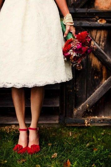 Wedding Dress With Red Shoes