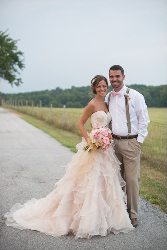 A New Country Chic Wedding Dress Pale Pink Long Ruffles Lace